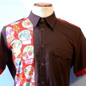 camisa skull marron 2
