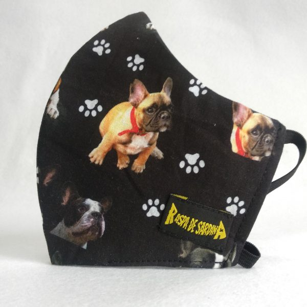 Cubrebocas Bull Dog Negra (Tallas M y L)