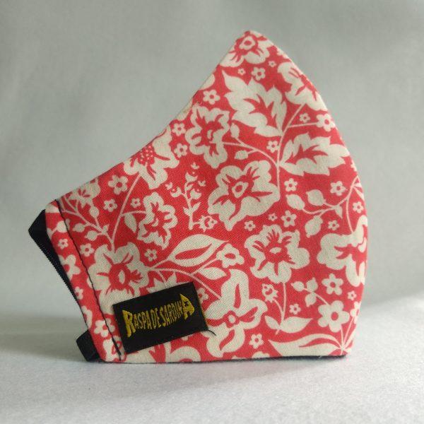 Cubrebocas  Flores Rojas (Tallas M y L)