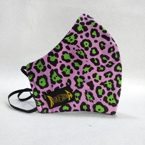 Cubrebocas Leopardo Lila (Tallas M y L)